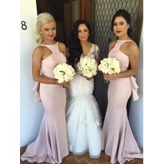 Trumpet/Mermaid Satin Bridesmaid Dresses Cascading Ruffles Scoop Neck Sleeveless Sweep Train