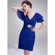 Short Sleeves V-neck Simple Chiffon A-Line/Princess Cocktail Dresses (016211495)