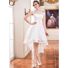 A-Line Illusion Asymmetrical Organza Wedding Dress With Lace Beading Flower(s) (002055226)