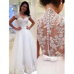 A-Line/Princess V-neck Floor-Length Wedding Dresses With Appliques Lace