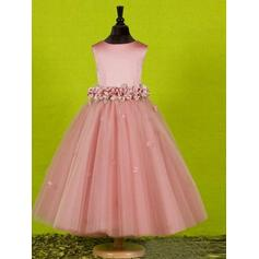 Scoop Neck A-Line/Princess Flower Girl Dresses Bow(s) Sleeveless Ankle-length
