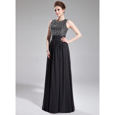 Chiffon Sequined Glamorous Evening Dresses With Scoop Neck (017200781)