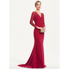 Trumpet/Mermaid V-neck Sweep Train Stretch Crepe Evening Dress (017186148)