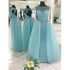Ball-Gown Scoop Neck Floor-Length Tulle Evening Dresses With Beading