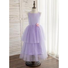 A-Line/Princess Tea-length Flower Girl Dress - Satin/Tulle Sleeveless Straps With Flower(s) (010148840)