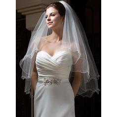 Fingerspitze Braut Schleier Tüll Zweischichtig Engelschnitt /Wasserfall mit Wellenkante Brautschleier