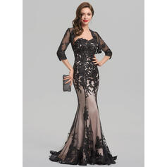 Trumpet/Mermaid Sweetheart Sweep Train Lace Evening Dress (017137375)