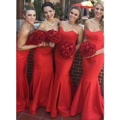 Trumpet/Mermaid Sweetheart With Satin Bridesmaid Dresses (007146971)