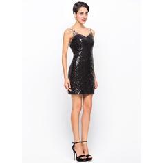 Cuentas Vestido tubo Escote en V Con lentejuelas Baile de promoción (016055924)