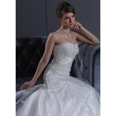 en linje bröllopsklänningar älskling halsring