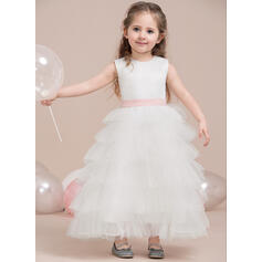 A-Line/Princess Ankle-length Flower Girl Dress - Satin/Tulle Sleeveless Scoop Neck