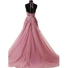 Barrer/Cepillo tren Tul Vestidos de baile de promoción con Corte A/Princesa Cabestro (018210924)