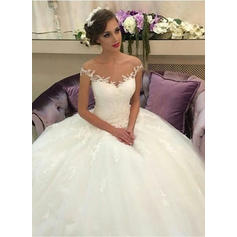 Court Train Ball-Gown Regular Straps - Tulle Lace Wedding Dresses