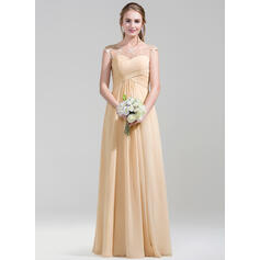 A-Line/Princess Scoop Neck Floor-Length Chiffon Lace Bridesmaid Dress With Ruffle (007072788)