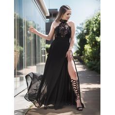 Alças largas regulares Tecido de seda Cabresto Vestidos princesa/ Formato A Vestidos de baile (018218106)