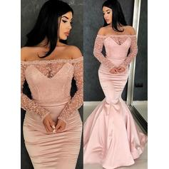 Satin Long Sleeves Trumpet/Mermaid Prom Dresses Off-the-Shoulder Ruffle Sweep Train