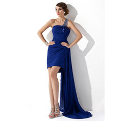 Sheath/Column One-Shoulder Watteau Train Chiffon Cocktail Dresses With Ruffle Beading (016008375)