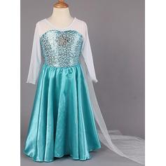 Sexy Floor-length A-Line/Princess Flower Girl Dresses Scoop Neck Chiffon/Taffeta Long Sleeves