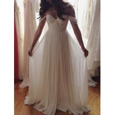 Simple Chiffon Wedding Dresses A-Line/Princess Floor-Length Off-The-Shoulder Sleeveless