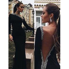 Trumpet/Mermaid V-neck Velvet Long Sleeves Sweep Train Beading Evening Dresses