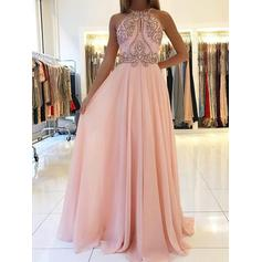Beading Scoop Neck With A-Line/Princess Chiffon Evening Dresses