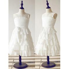 Scoop Neck A-Line/Princess Flower Girl Dresses Chiffon/Lace Ruffles/Sash Sleeveless Ankle-length