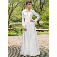 Fashion Scoop A-Line/Princess Wedding Dresses Floor-Length Chiffon Charmeuse Long Sleeves (002196868)