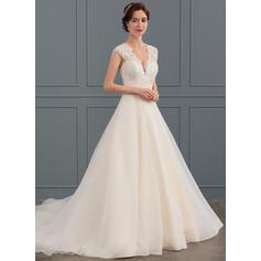 Ball-Gown V-neck Court Train Organza Wedding Dress (002134392)