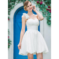 A-Line/Princess One Shoulder Short/Mini Wedding Dresses With Ruffle Flower(s) (002210563)