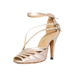 Women's Latin Heels Sandals Leatherette With Buckle Dance Shoes