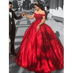 Ball-Gown Modern Off-the-Shoulder Satin Prom Dresses