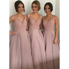 A-Line/Princess Sleeveless V-neck Satin Bridesmaid Dresses