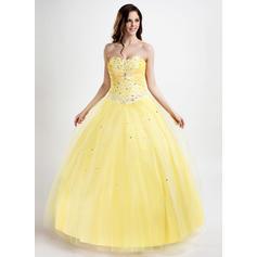Ball-Gown Tulle Prom Dresses Flattering Floor-Length Sweetheart Sleeveless