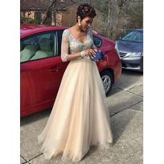 Tulle Long Sleeves A-Line/Princess Prom Dresses V-neck Beading Floor-Length