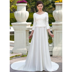Satin A-Line/Princess Chapel Train Scoop Wedding Dresses