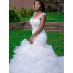 Sleeveless V-neck Cathedral Train Organza Wedding Dresses
