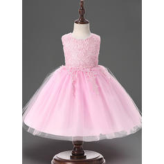A-Line/Princess Scoop Neck Floor-length Tulle Christening Gowns With Lace