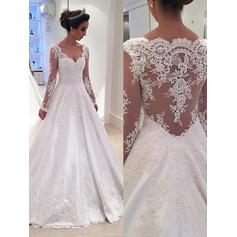 Ball-Gown V-neck Court Train Satin Lace Wedding Dresses (002144831)