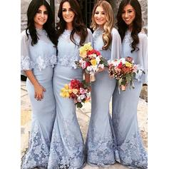 Trumpet/Mermaid Satin Bridesmaid Dresses Appliques Lace Scoop Neck Short Sleeves Floor-Length