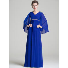 A-Line/Princess V-neck Floor-Length Chiffon Mother of the Bride Dress With Ruffle Beading Sequins (008072725)
