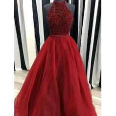 Sexy Tulle Evening Dresses Ball-Gown Floor-Length High Neck Sleeveless