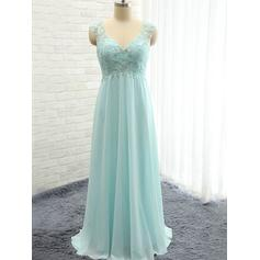 Chiffon Sleeveless A-Line/Princess Bridesmaid Dresses Sweetheart Ruffle Beading Floor-Length