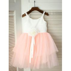 Scoop Neck A-Line/Princess Flower Girl Dresses Sash/Flower(s) Sleeveless Knee-length