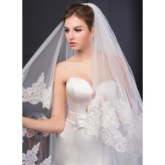 Cathedral Bridal Veils Two-tier Oval With Lace Applique Edge With Lace Wedding Veils