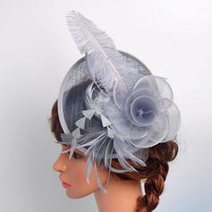 Señoras' Hermoso/Elegante Algodón con Pluma/Flores de seda/Tul Tocados