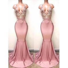 Trumpet/Mermaid Charmeuse Prom Dresses Modern Sweep Train V-neck Sleeveless