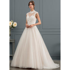 Ball-Gown/Princess Illusion Sweep Train Tulle Wedding Dress With Sequins (002153424)