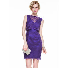 Sheath/Column Scoop Neck Lace Cocktail Dresses