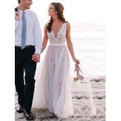 Chic Tulle Wedding Dresses A-Line/Princess Sweep Train V-neck Sleeveless (002144842)
