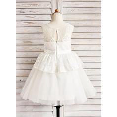 Corte A/Princesa Hasta la tibia Vestidos de Niña Florista - Tul/Encaje Sin mangas Escote redondo con Lazo(s) (010091409)